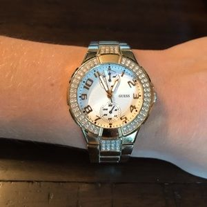 Guess   Swarovski crystals gold watch with box